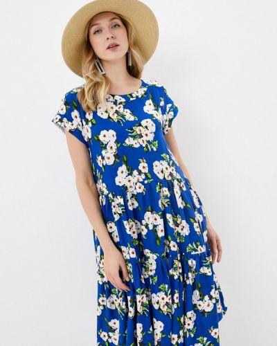 Прямое синее платье А-силуэта мадам т