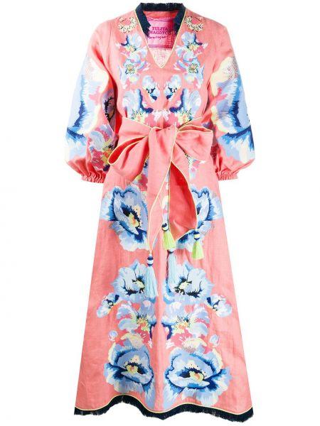 Розовое расклешенное платье миди с бахромой на молнии Yuliya Magdych