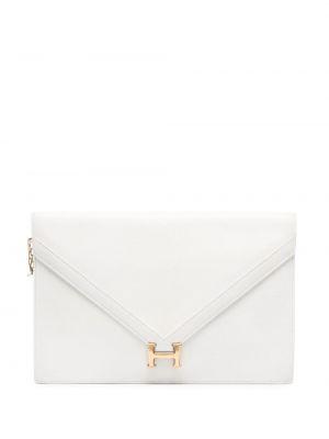 Белый кожаный клатч-конверт на молнии Hermès