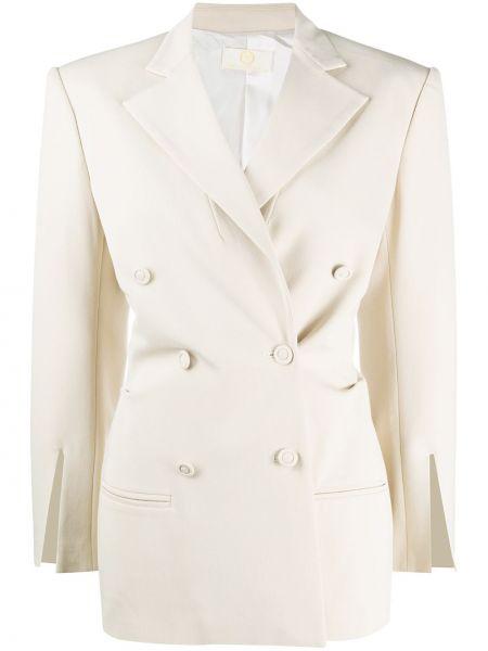 Бежевый удлиненный пиджак двубортный с карманами Sara Battaglia