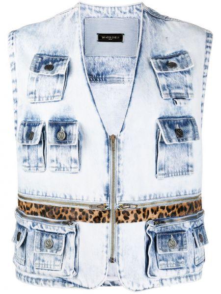 Синяя джинсовая куртка без рукавов на молнии Simonetta Ravizza