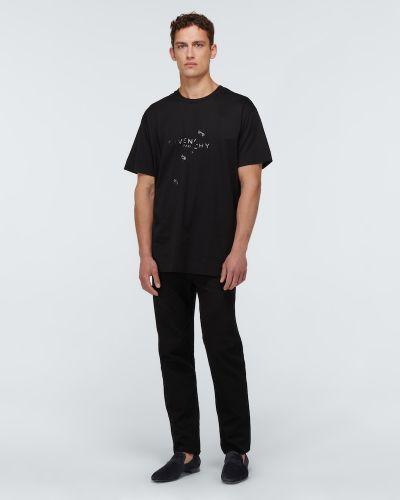 Замшевые черные лоферы с вышивкой Christian Louboutin