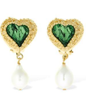 Zielone złote kolczyki sztyfty perły Saf Safu