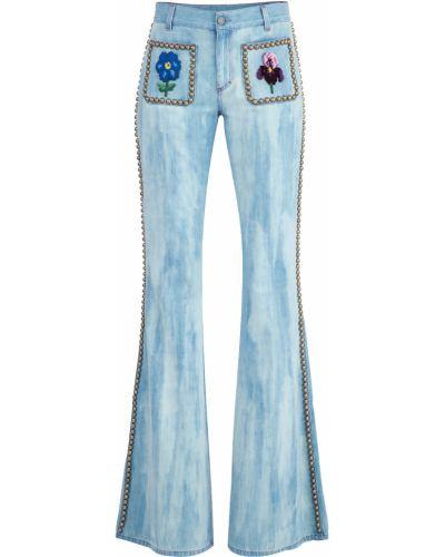 Расклешенные джинсы с вышивкой винтажные Gucci