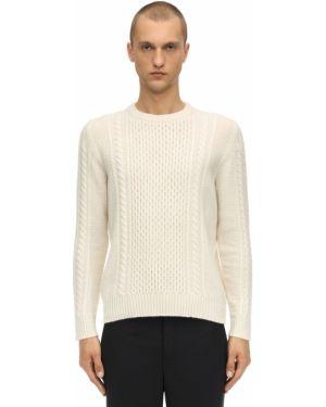 Prążkowany biały z kaszmiru sweter Piacenza Cashmere