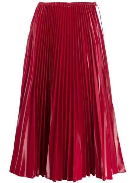 Красная плиссированная юбка миди на пуговицах Fendi