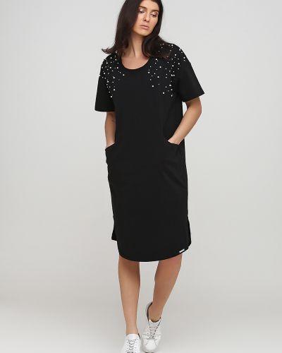 Трикотажное черное платье с вырезом Rinascimento