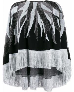 Черный длинный свитер с бахромой круглый Just Cavalli