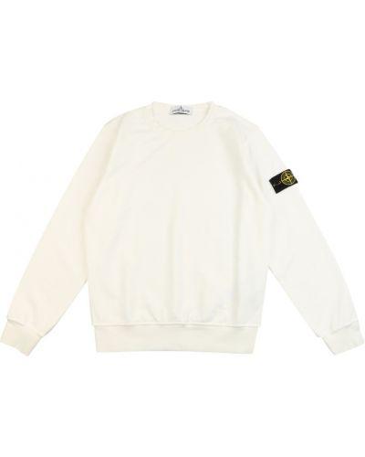 Biała bluza z długimi rękawami Stone Island