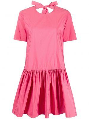 Расклешенное шелковое розовое платье миди с бантом Valentino