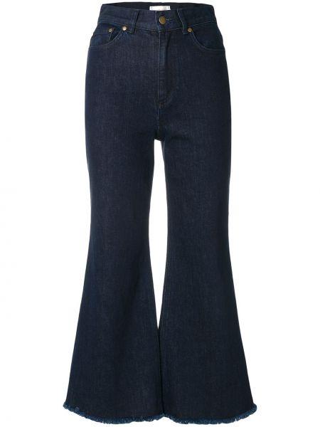 Niebieskie jeansy bawełniane boho Zimmermann