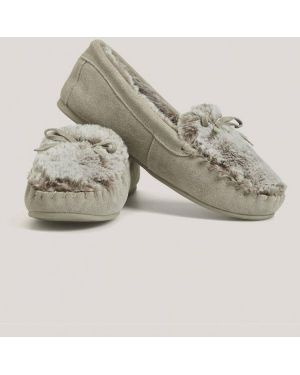 Домашние тапочки на каблуке коричневый Oysho