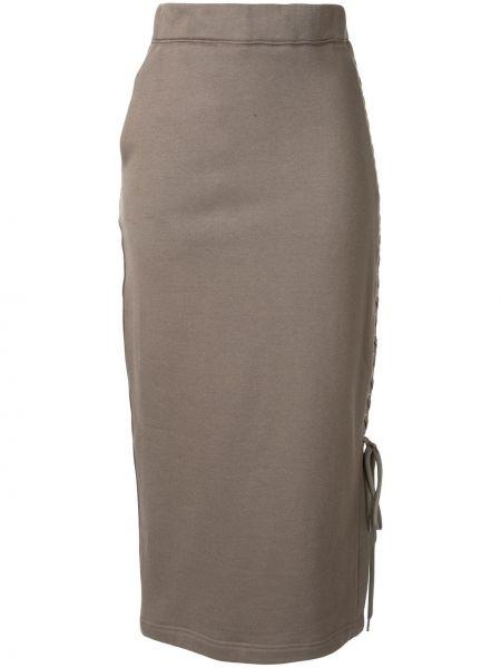Серая с завышенной талией юбка миди с разрезом в рубчик G.v.g.v.