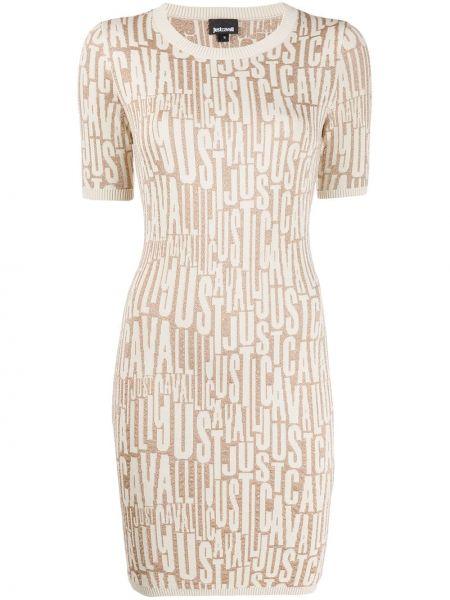 Приталенное бежевое платье мини с вырезом Just Cavalli