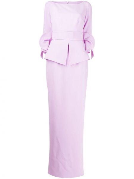 С рукавами фиолетовое платье макси с манжетами Safiyaa