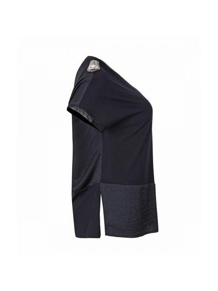 Черная прямая блузка с коротким рукавом с V-образным вырезом с короткими рукавами Mat Fashion