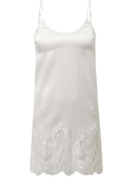 Biała ażurowa koszula nocna z jedwabiu Chiara Fiorini
