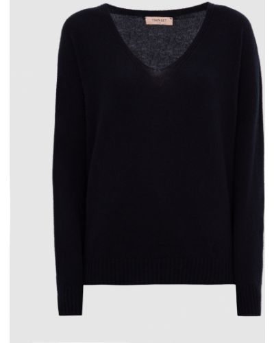 Шерстяной синий пуловер Twin-set
