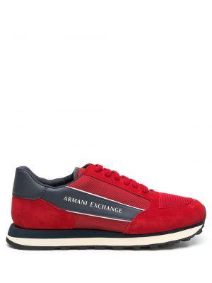Кожаные кроссовки - красные Armani Exchange