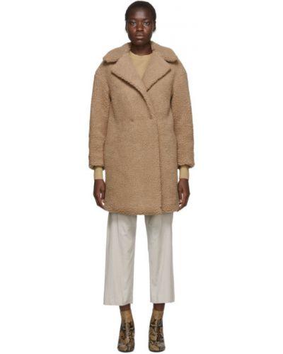 Бежевое шерстяное длинное пальто с воротником Harris Wharf London