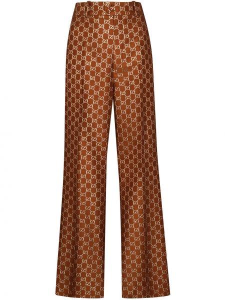 Spodni brązowy rozbłysnął wełniany spodnie Gucci