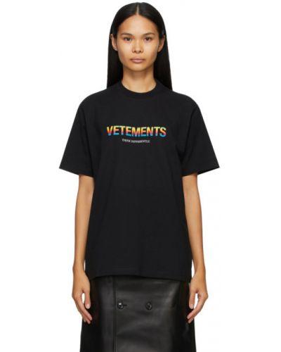Хлопковая с рукавами черная рубашка Vetements