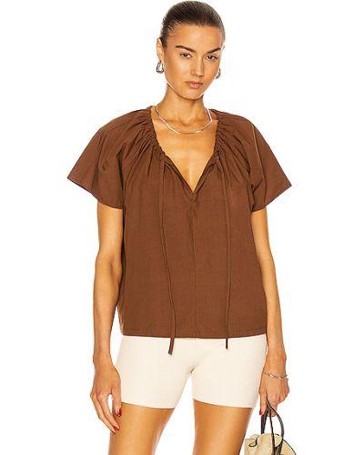 Хлопковая коричневая блузка с декольте Matteau