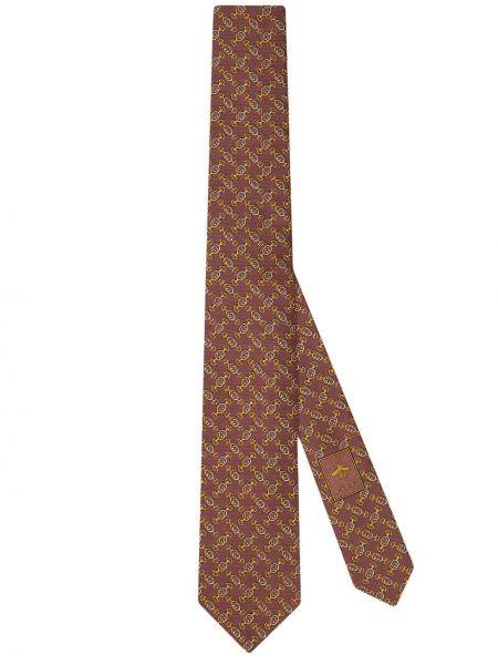 Różowy krawat wełniany elegancki Gucci