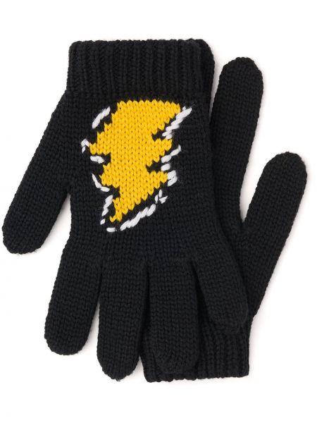 Ciepłe czarne rękawiczki wełniane Prada