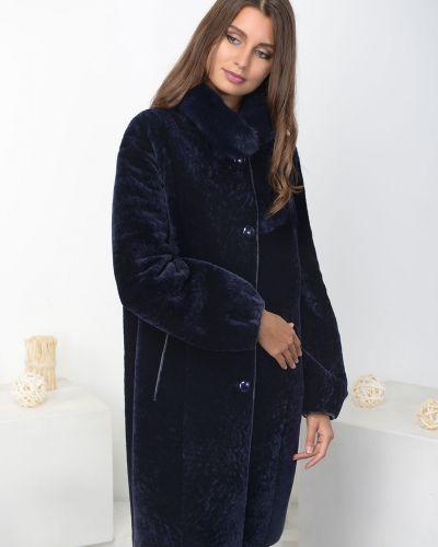 Синее пальто с воротником на пуговицах Aliance Fur