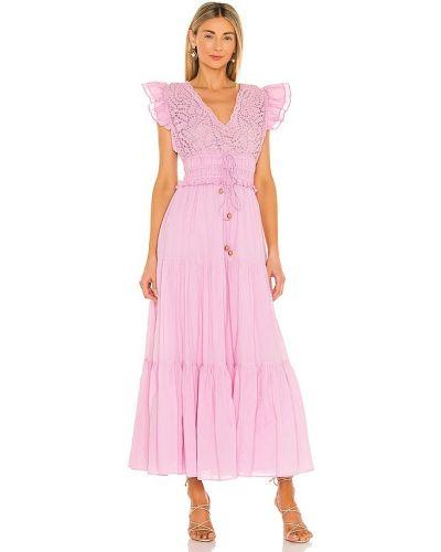 Фиолетовое кружевное платье макси с кокеткой Karina Grimaldi