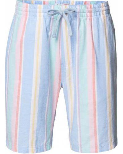 Niebieskie bermudy jeansowe bawełniane w paski Tommy Jeans