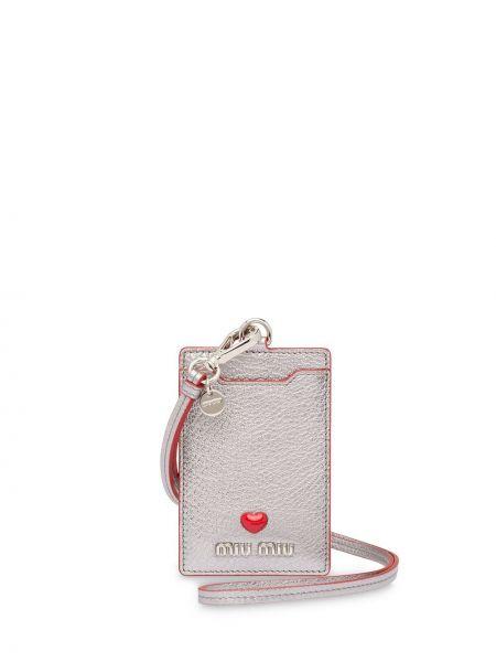 Серебряный кожаный кошелек прозрачный Miu Miu