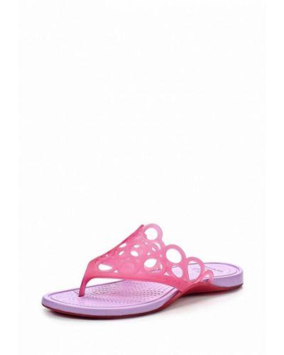 Розовые сланцы пляжные Crocs
