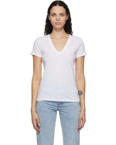 Bawełna biały koszula z kołnierzem z dekoltem w szpic Rag & Bone