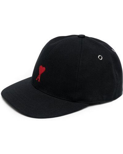 Бейсболка с вышивкой - черная Ami Paris