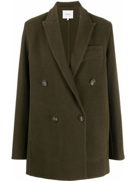 Шерстяное длинное пальто с воротником двубортное Vince.