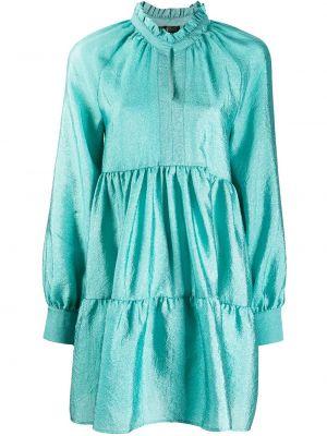 Сатиновое бирюзовое расклешенное платье макси с длинными рукавами Stine Goya