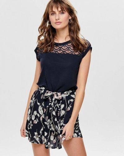Синяя блузка с коротким рукавом Only