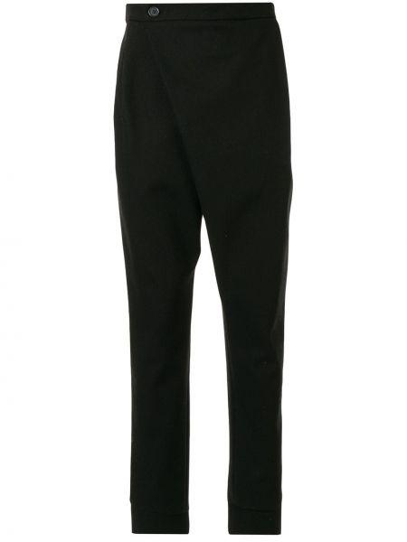 Черные зауженные брюки на пуговицах с карманами бязевые Strateas Carlucci