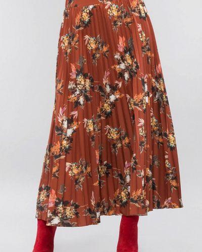 Плиссированная коричневая плиссированная юбка Maxa