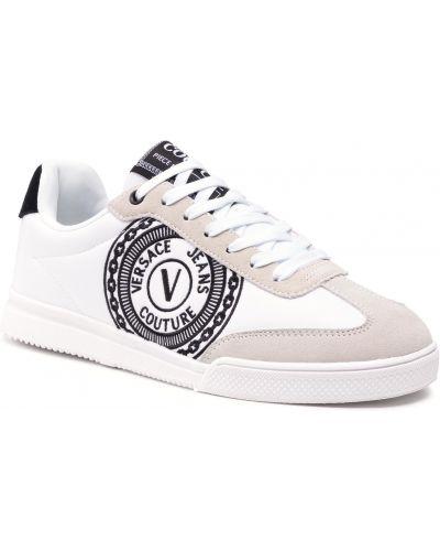 Buty sportowe skorzane - białe Versace Jeans Couture