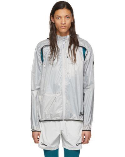 Biały długa kurtka z łatami z długimi rękawami z kapturem Off-white