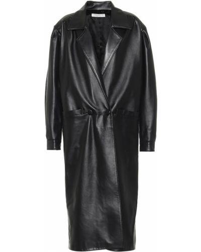 Czarny płaszcz skórzany Alessandra Rich