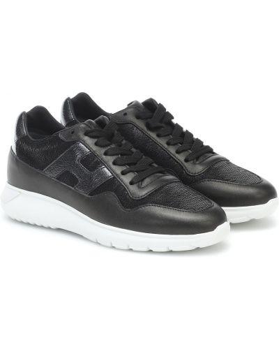Повседневные черные текстильные кожаные кроссовки с декоративной отделкой Hogan