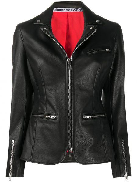 Кожаная куртка черная на молнии Alexander Wang