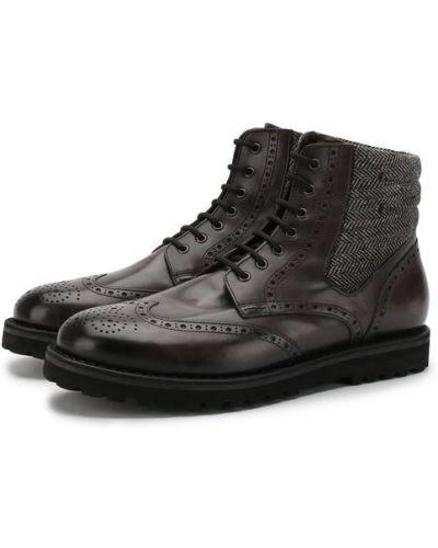 Кожаные ботинки броги на овчине W.gibbs