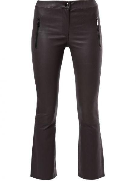 Кожаные коричневые расклешенные укороченные брюки с поясом Arma