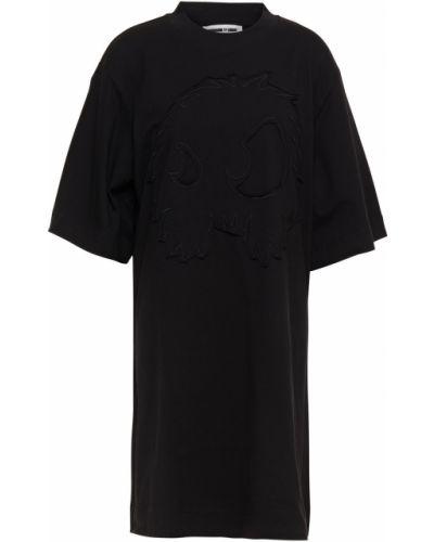 Трикотажное черное платье мини с вышивкой Mcq Alexander Mcqueen