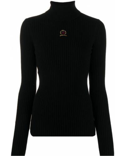 Кашемировый тонкий черный вязаный джемпер с высоким воротником Hilfiger Collection